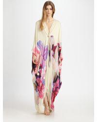 Roberto Cavalli - White Deep V Silk Caftan Gown - Lyst