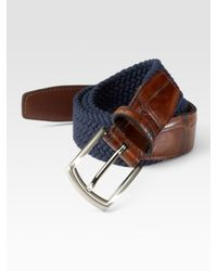 Saks Fifth Avenue | Blue Woven Belt for Men | Lyst