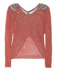 Theyskens' Theory | Pink Crochet-back Open-knit Linen-blend Sweater | Lyst