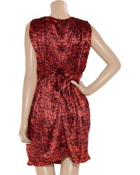 Thurley - Red Tucket Animal-print Silk-satin Dress - Lyst