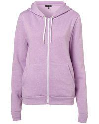 TOPSHOP | Purple Zip Hoody | Lyst