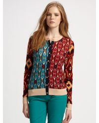 Tory Burch | Multicolor Gabby Wool Cardigan | Lyst
