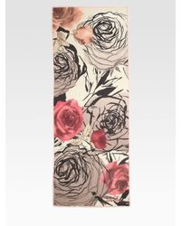 Valentino | Pink Bed Of Roses Challis Scarf | Lyst