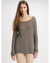 Vince | Gray Linen Boatneck Sweater | Lyst
