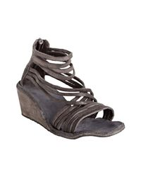 Ash | Brown Distressed Leather Ninphe Wedge Sandals | Lyst