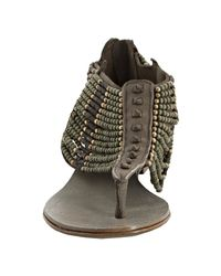 Ash | Gray Khaki Leather Molly Beaded Thong Sandals | Lyst