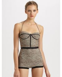 Bottega Veneta | Gray One-Piece Halter Swimsuit | Lyst