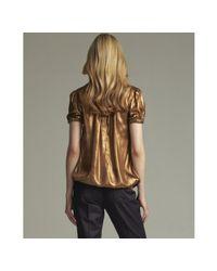 Dolce & Gabbana | Bronze Metallic Silk Bubble Sleeve Blouson Top | Lyst