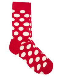 Happy Socks | Red Large Spot Socks for Men | Lyst