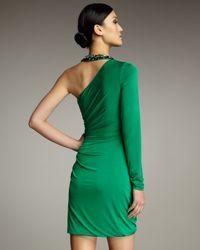 Hoaglund New York | Green Beaded-neck Single-sleeve Dress | Lyst