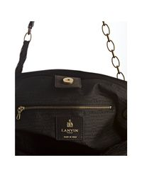 Lanvin   Black Grey Quilted Suede Amalia Ribbon Chain Bag   Lyst