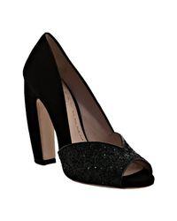 Miu Miu - Black Suede and Glitter Peep Toe Pumps - Lyst