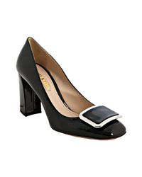 Prada - Black Patent Leather Square Toe Buckle Pumps - Lyst