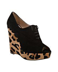 Prada | Multicolor Black Suede Leopard Print Calf Hair Peep Toe Wedges | Lyst