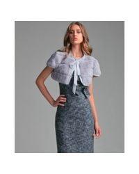 RED Valentino | Gray Grey Rabbit Fur Tie Neck Bolero Jacket | Lyst