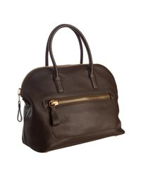 Tom Ford | Black Chocolate Leather Zip Pocket Tote | Lyst