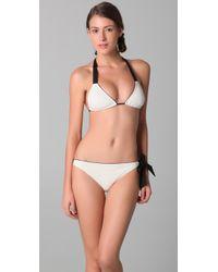 3.1 Phillip Lim | White Triangle Bikini Top with Ribbon Tie | Lyst