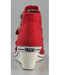 Ash - Pink Low-wedge Canvas Buckle Sneaker - Lyst