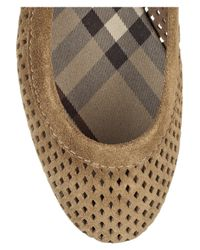 Burberry - Brown Perforated Suede Ballet Flats - Lyst