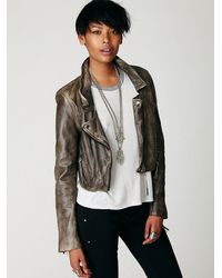 Free People | Gray Distressed Bike Jacket | Lyst