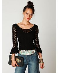 Free People - Black Crochet Bell Sleeve Top - Lyst