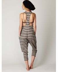 Free People | Black Linen Striped Romper | Lyst