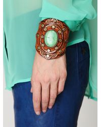 Free People - Brown Aegean Leather Cuff - Lyst