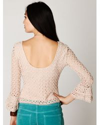 Free People - Natural Crochet Bell Sleeve Top - Lyst