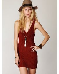 Free People | Red Chenille Bodycon Dress | Lyst