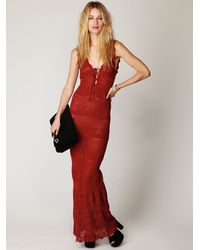 Free People | Red Gialos Crochet Maxi Dress | Lyst