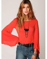 Free People - Orange Ashbury Bell Sleeve Tee - Lyst