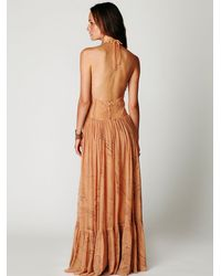 Free People - Brown Cosmos Maxi Dress - Lyst
