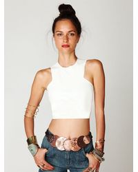 Free People | White Leather Crop Top | Lyst