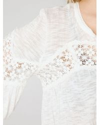Free People | White Long Sleeve Crinkle and Lace Top | Lyst
