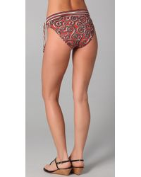 Tory Burch - Brown Mixed Print Banded Bikini Bottom - Lyst