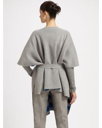 Akris - Gray Wool Poncho Cardigan - Lyst