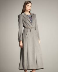ESCADA | Gray Long Belted Coat | Lyst