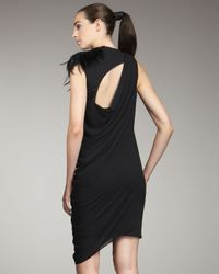 Helmut Lang - Black Feather Shoulder Dress - Lyst