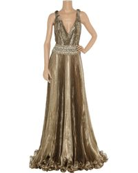 Marchesa | Embellished Metallic Organza Gown | Lyst