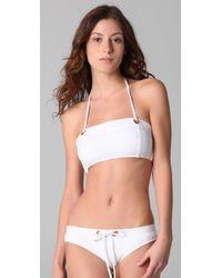 MILLY - White Cooks Bay Bandeau Bikini Top - Lyst