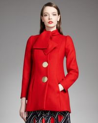 Boutique Moschino | Red Bow Neck Swing Coat | Lyst