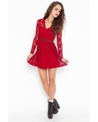 Nasty Gal | Red Rosalind Lace Dress | Lyst
