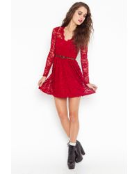 Nasty Gal - Red Rosalind Lace Dress - Lyst