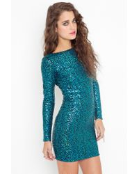 Nasty Gal | Blue Nikki Sequin Dress - Turquoise | Lyst