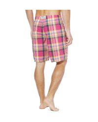 Polo Ralph Lauren | Pink Plaid Swim Shorts for Men | Lyst