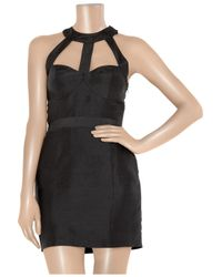 Rachel Gilbert | Black Candice Cutout Raw-silk Dress | Lyst