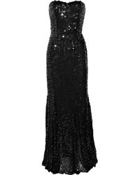 Rachel Gilbert | Black Leticia Sequined Strapless Gown | Lyst