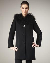 Sofia Cashmere | Black Fur-collar Coat | Lyst