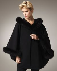 Sofia Cashmere | Black Fur-trim Cape | Lyst