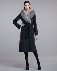 St. John | Gray Fur-collar Coat | Lyst